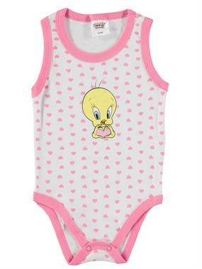 TWEETY Tweety Baby Girl 3-24 Months White Bodysuit With Snaps