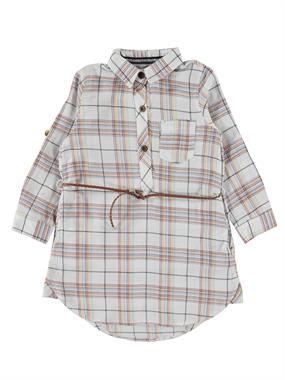 Civil Girls Patterned Shirt In Navy Blue Plaid Girl Age 6-9