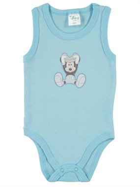Mickey Mouse 3-24 Months Baby Boy Blue Bodysuit With Snaps Minnie Mouse