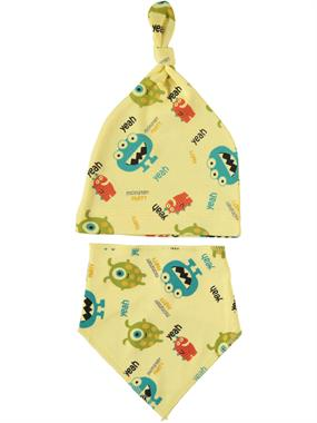 Albimama Team Beanie 0-3 Months Baby Boy Yellow Bib