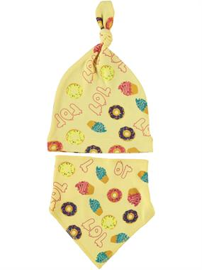 Albimama Team Beanie 0-3 Months Baby Girl Yellow Bib