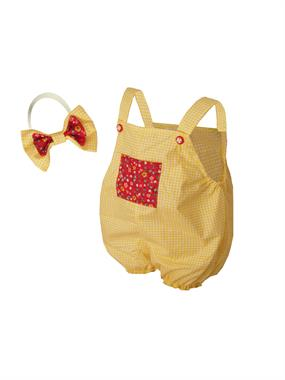 Shecco Babba Baby Girl Overalls With Pockets Shorts Team Yellow Bandana
