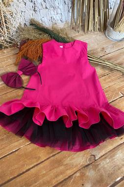 Shecco Babba Kız Çocuk Tütü Elbise Taç Takım Fuşya