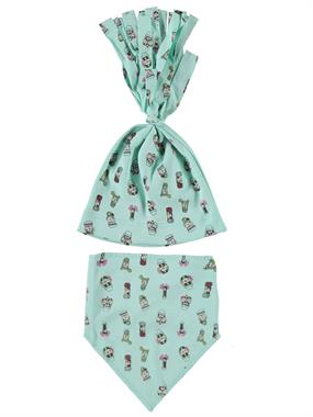 Albimama Mint Green Bib Baby Girl 0-3 Months Beanie Team