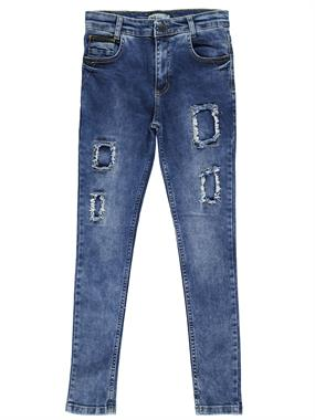 Cvl Teen Patched Blue Jeans Boys 10-13 Years Old Boy In The Civil