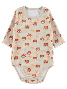 Kujju 12-24 Months Baby Boy Beige Bodysuit With Snaps